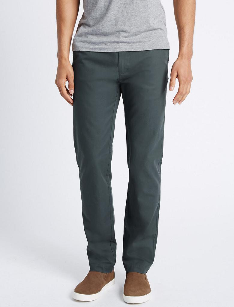 Slim Pure Cotton Haki Pantolon