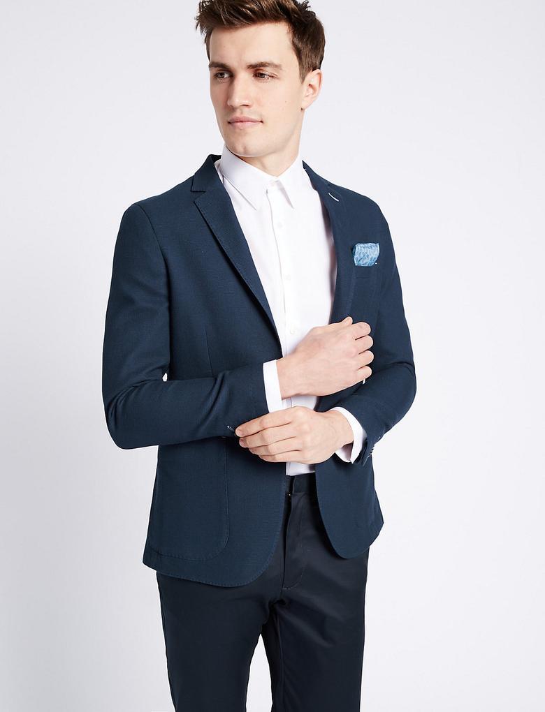Lacivert Saf Pamuklu Modern Slim Ceket