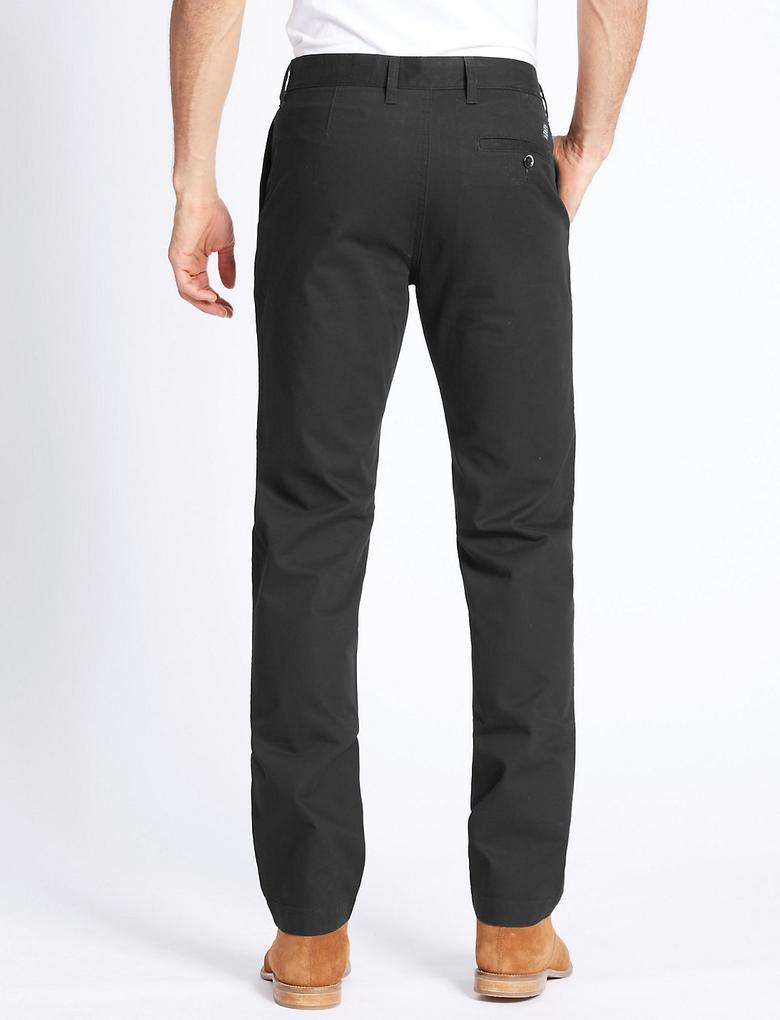 Siyah Saf Pamuklu Slim Fit Chino Pantolon