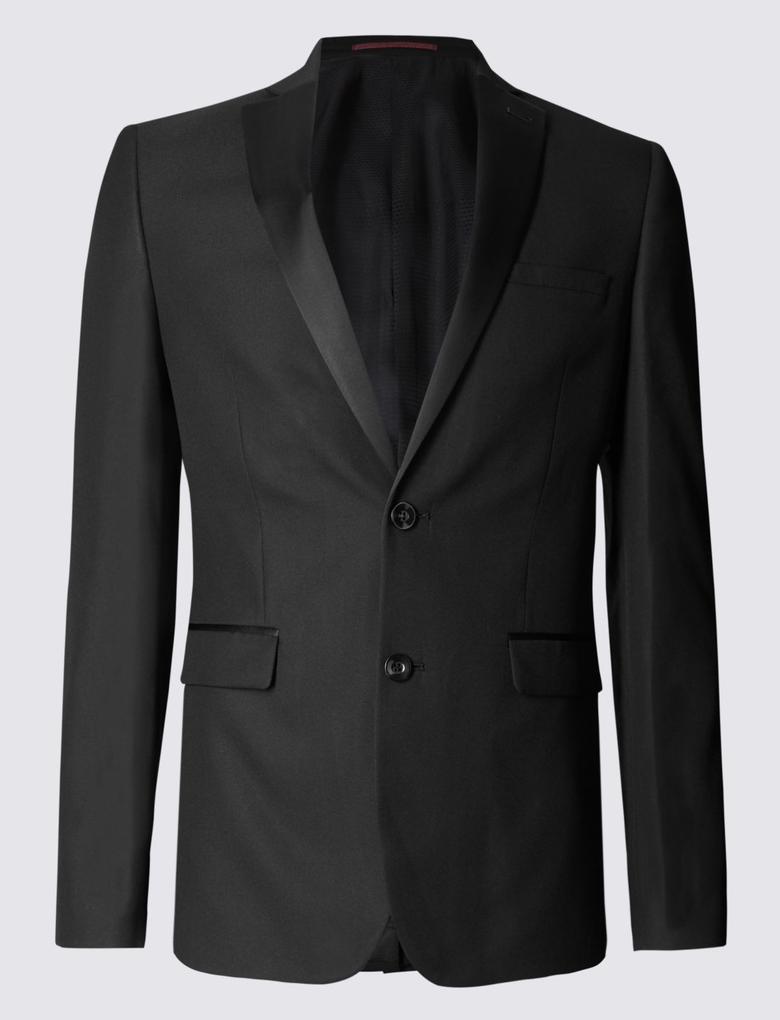 Siyah Dokulu Modern Slim Ceket