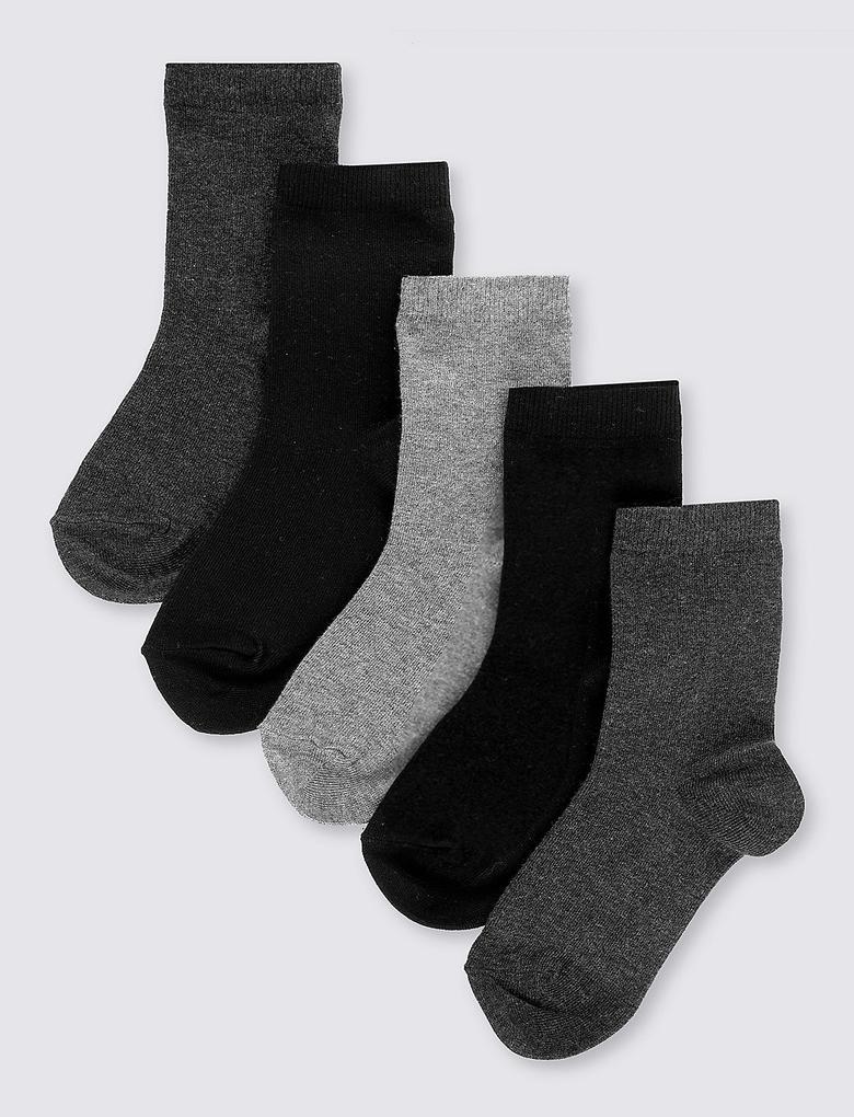 Multi Renk 5'li Pamuklu Freshfeet™ Okul Çorabı (2 - 14 Yaş)