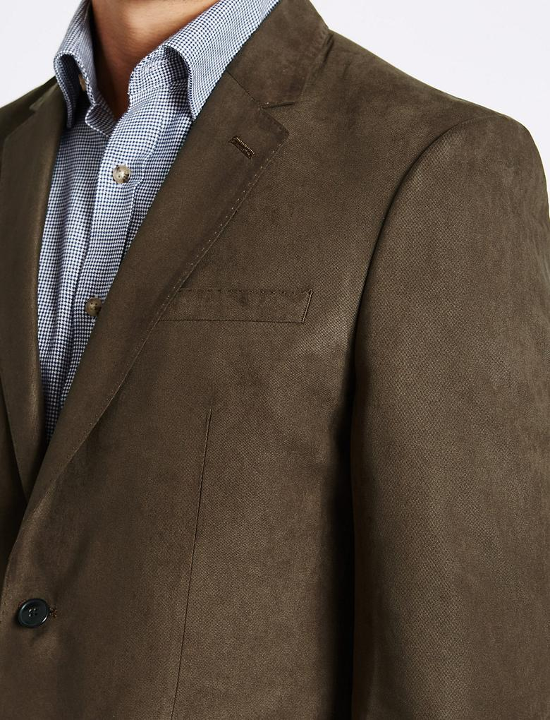 Süet Görünümlü Çift Düğmeli Ceket