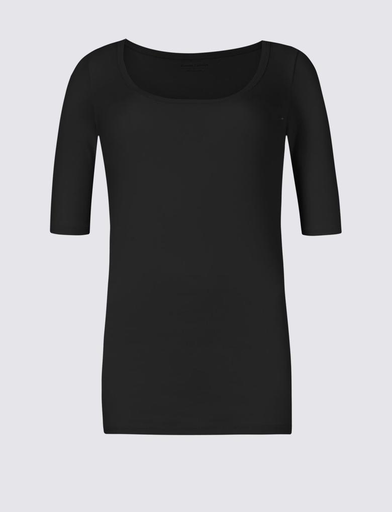 Pure Cotton Kayık Yaka Yarım Kollu T-Shirt