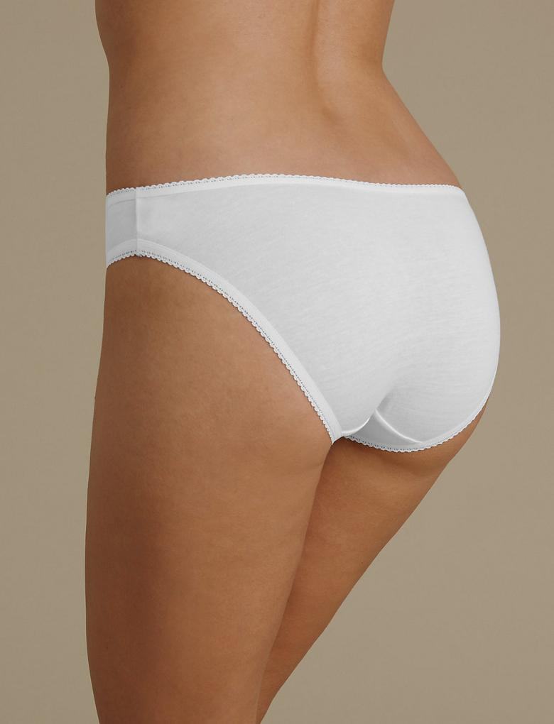 Kadın Beyaz 4'lü Saf Pamuklu High Leg Külot