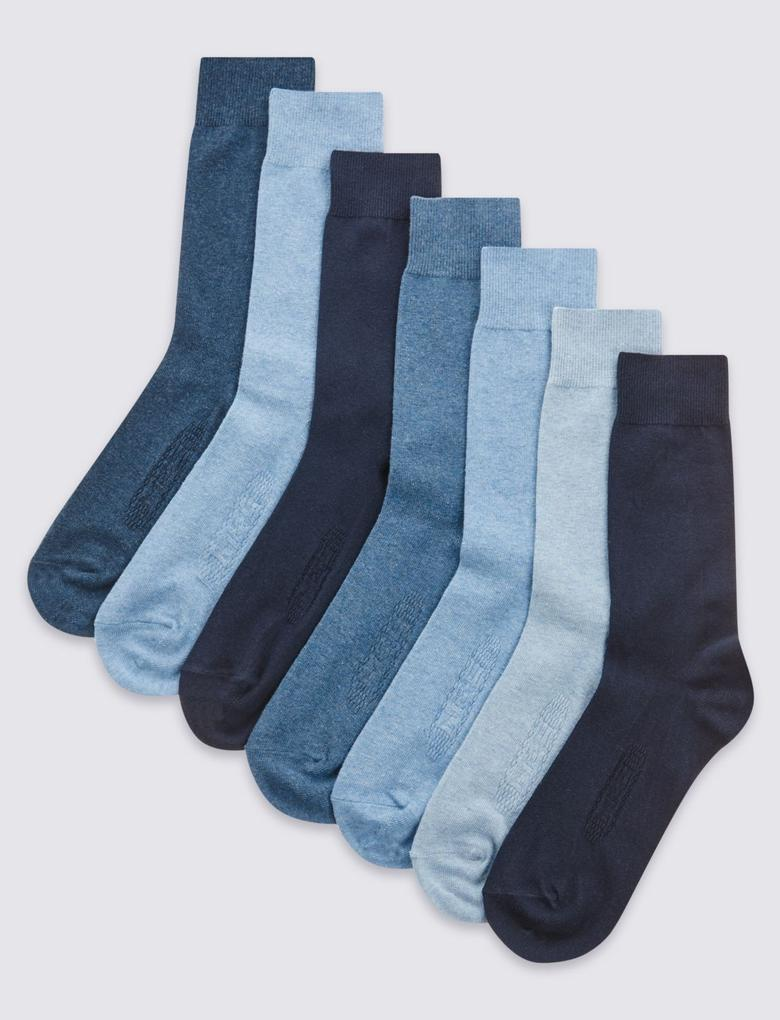 Mavi 7'li Pamuklu Çorap Seti (Cool & Freshfeet™ Teknolojisi ile)