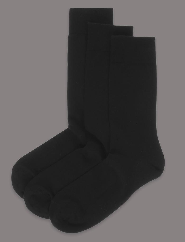 Erkek Siyah 3'lü Modal Karışımlı Çorap