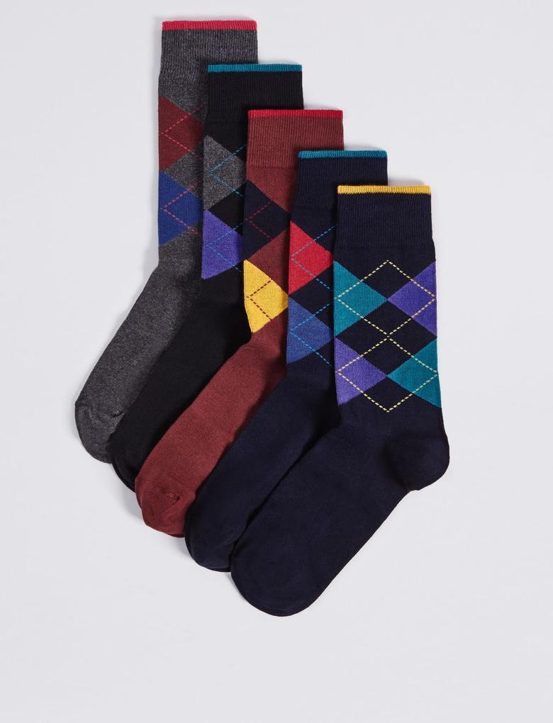 5'li Desenli Çorap (Cool & Freshfeet™ Teknolojisi ile)