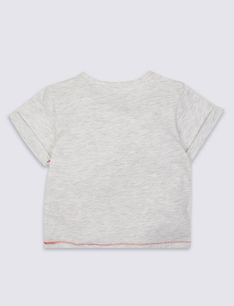 Beyaz Aslan Desenli Kısa Kollu T-Shirt