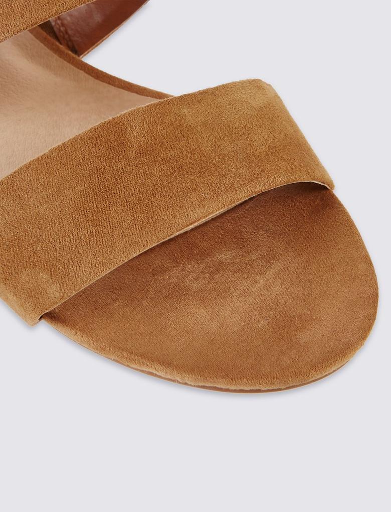 Gri Çift Bantlı Açık Ayakkabı