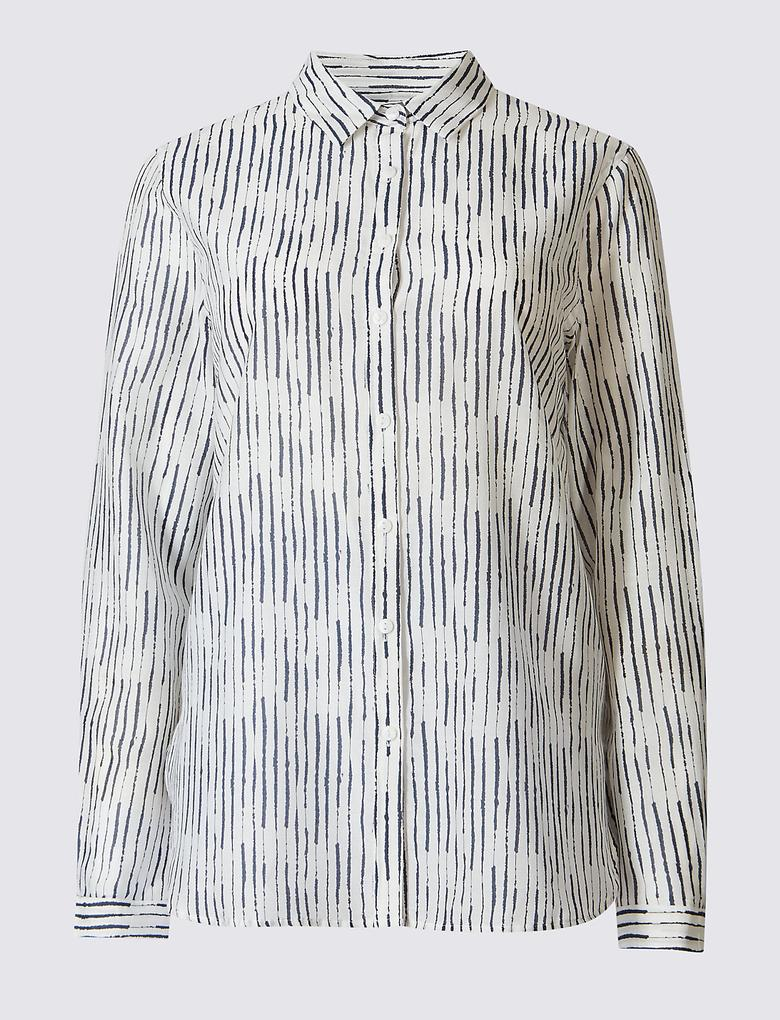 Çizgili Uzun Kollu Pamuklu İpek Gömlek