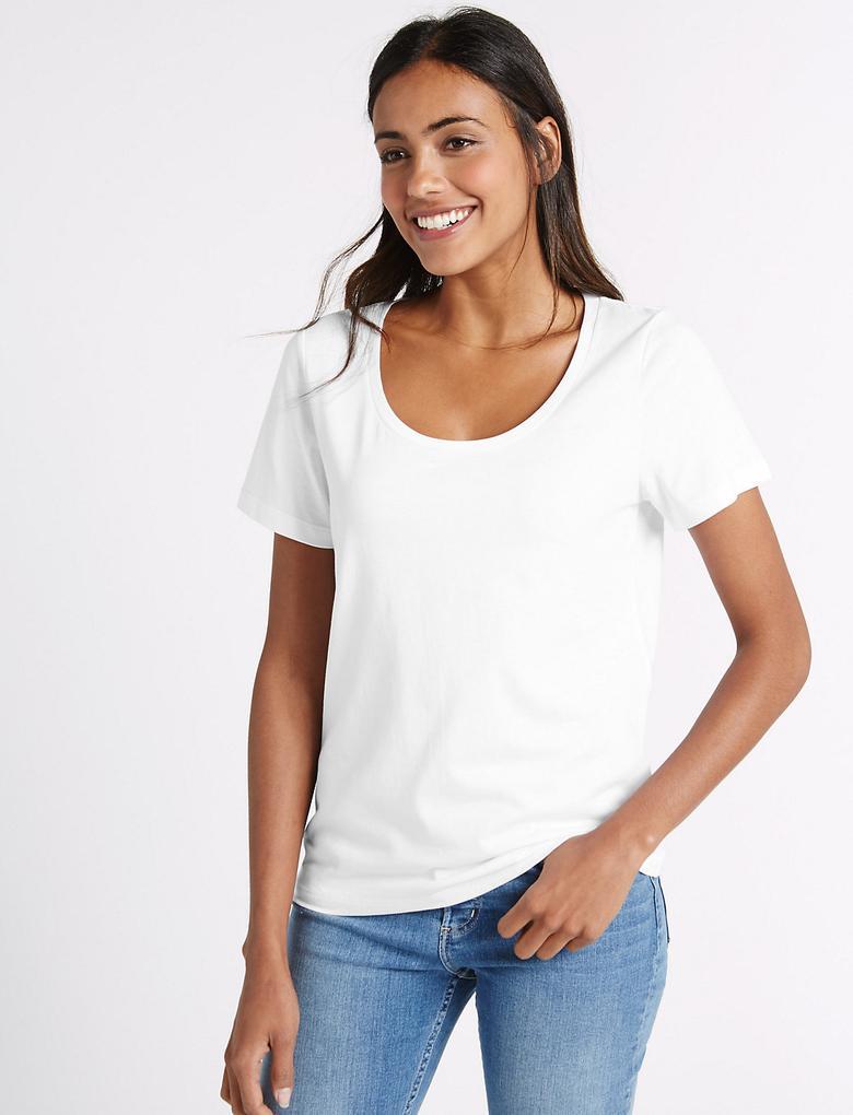 Saf Supima Pamuklu Derin Yaka T-Shirt