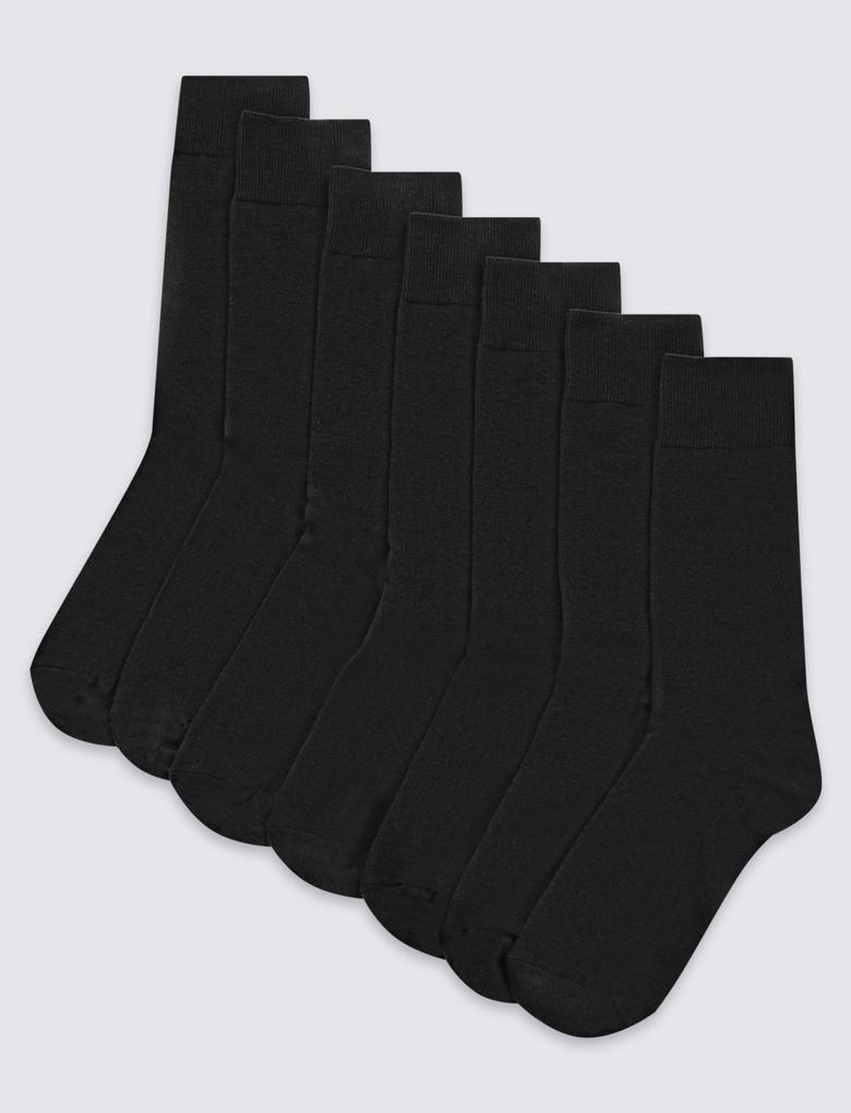 Siyah 7'li Pamuklu Çorap Seti (Cool & Freshfeet™ Teknolojisi ile)