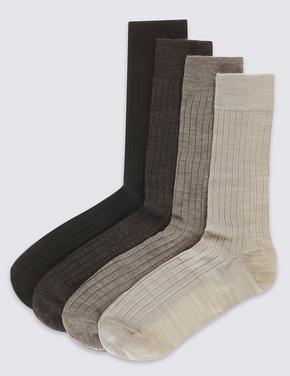 Kahverengi 4'lü Kuzu Yünlü Çorap