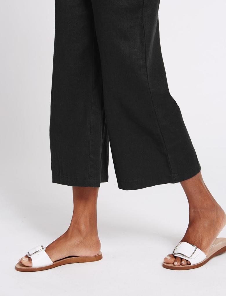 Siyah Keten Pantolon