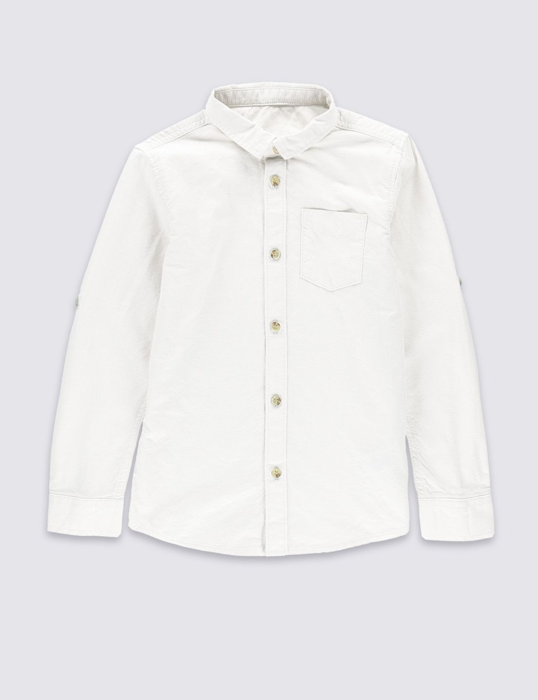 Saf Pamuklu Uzun Kollu Gömlek (3 - 14 Yaş)