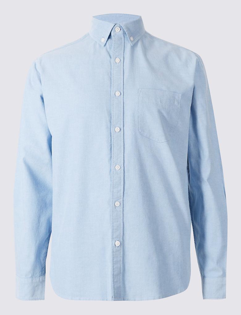 Saf Pamuklu Easy Care Oxford Gömlek