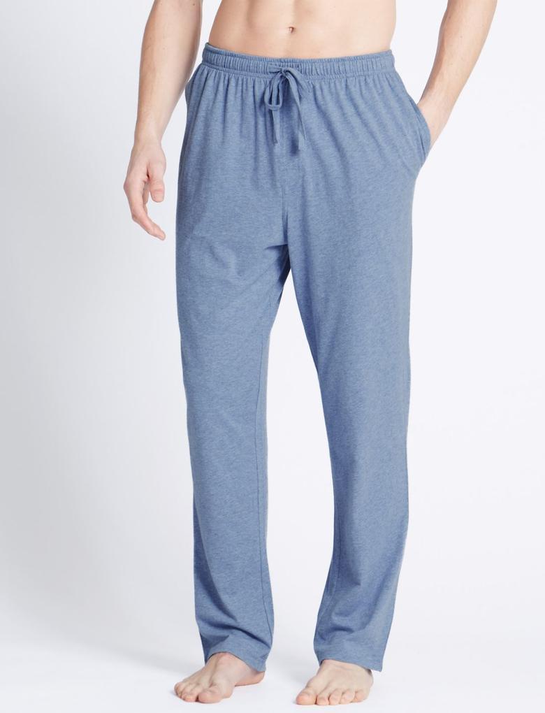 Erkek Lacivert 2'li Jarse Pijama Altı