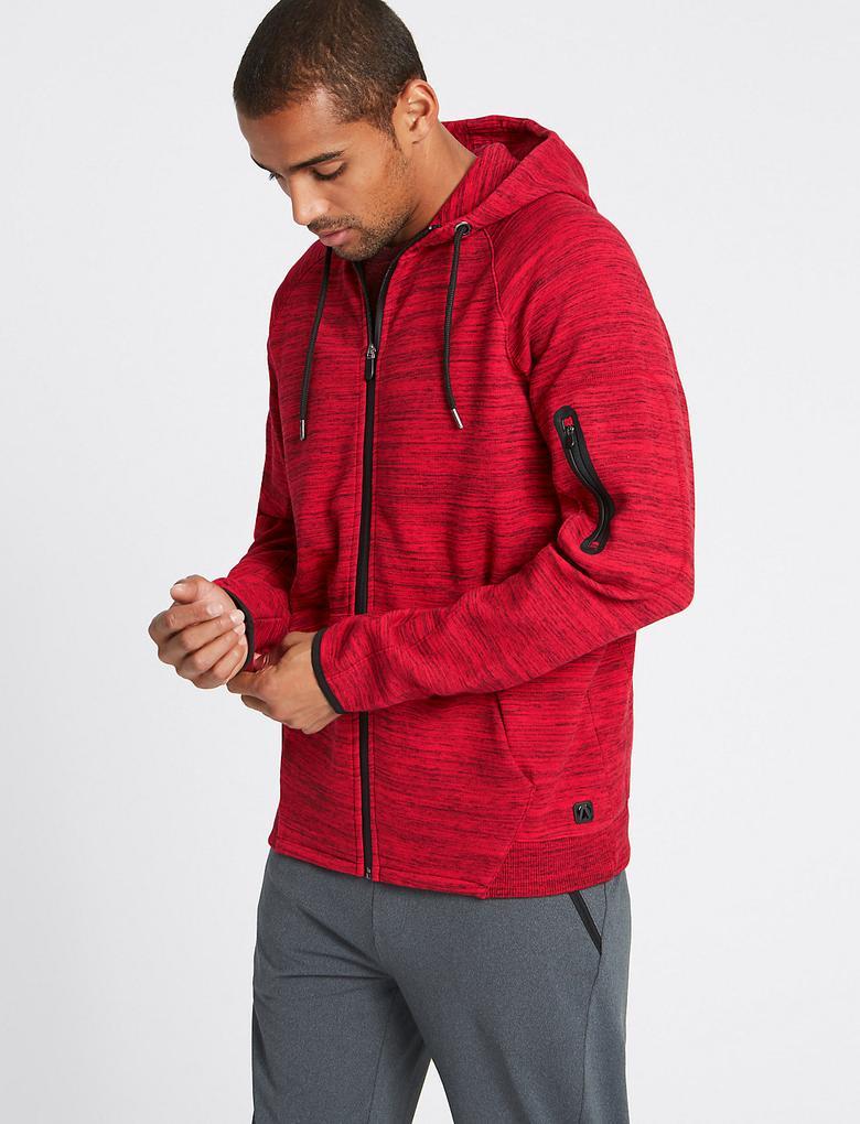 Kırmızı Pamuklu Kapüşonlu Sweatshirt