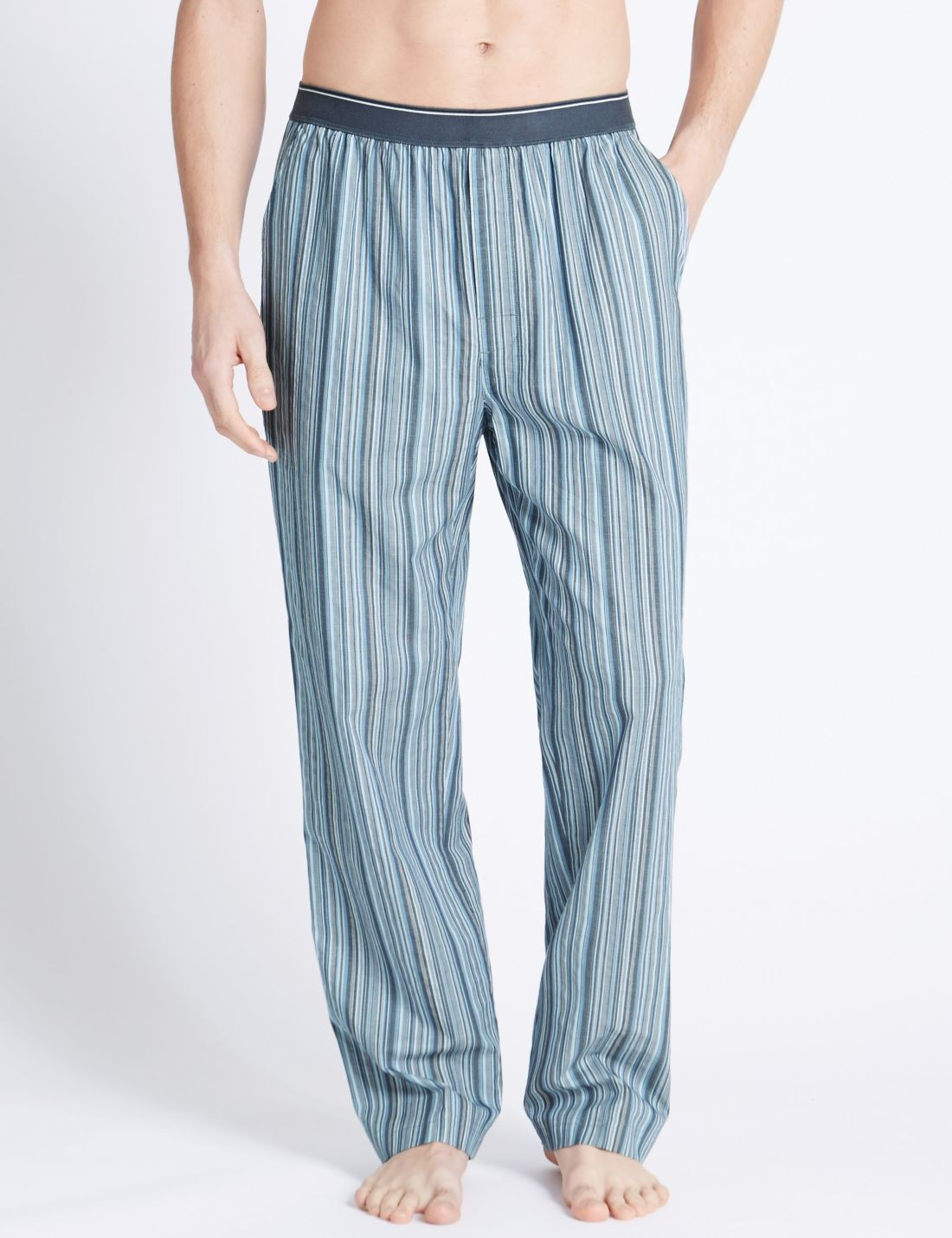 Saf Pamuklu Çizgili Pijama Altı