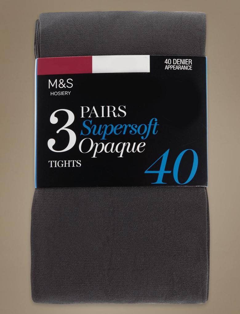 3'lü 40 Denye Yumuşak Opak Külotlu Çorap