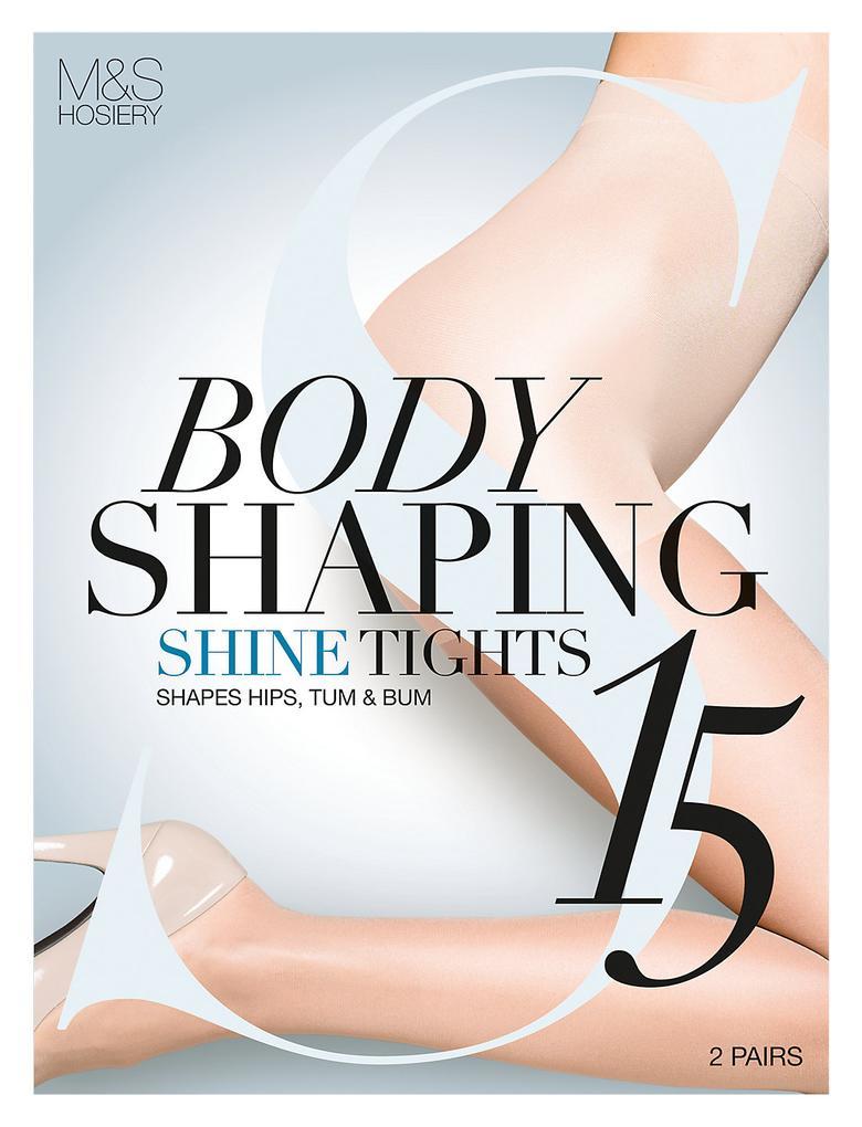 Kadın Kahverengi 2'li 15 Denye Secret Slimming™ Parlak Toparlayıcı Özellikli Külotlu Çorap