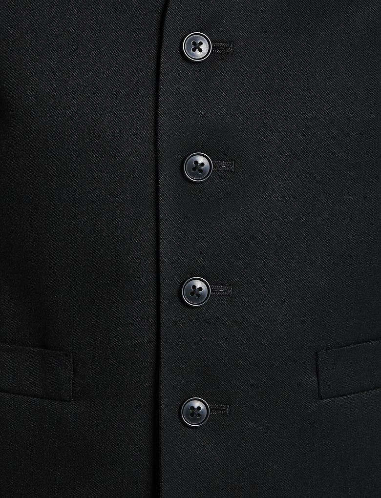 Siyah Siyah Regular Fit Yelek