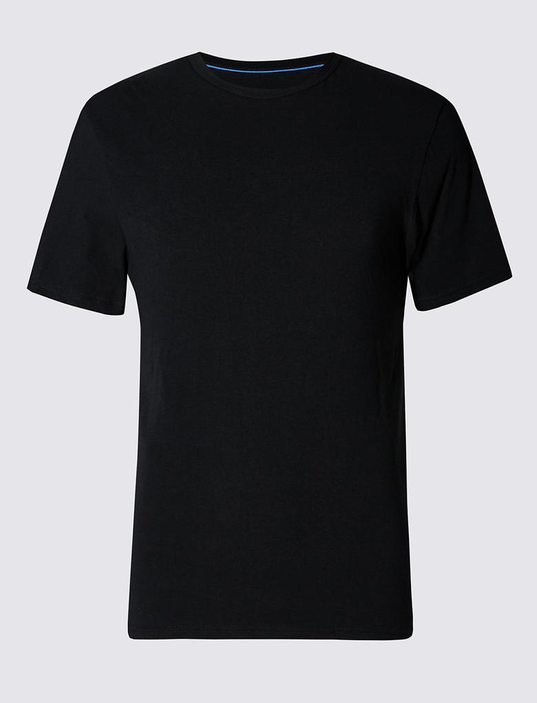 Siyah 2'li Cool & Fresh Esnek Pamuklu Atlet