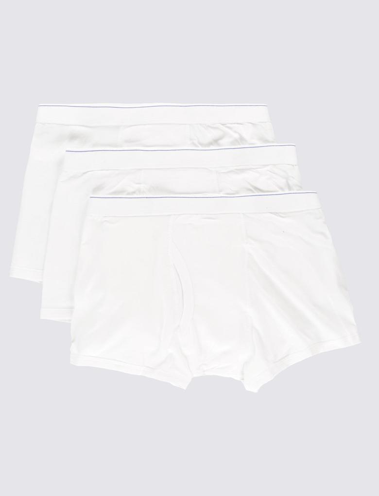 Beyaz 3'lü Cool & Fresh™ Pamuklu Streç Trunk