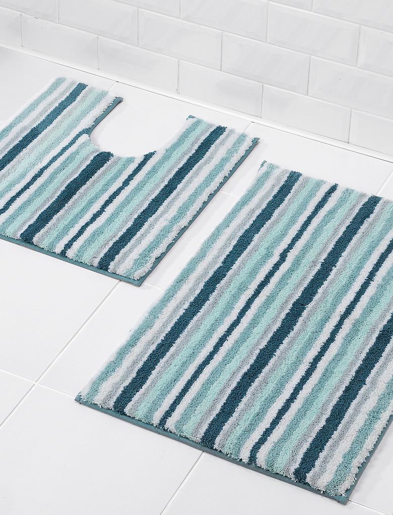 Hızlı Kuruyan Çizgili Banyo Paspası