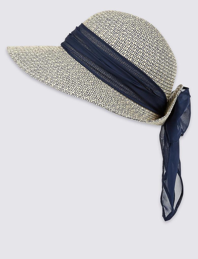 Lacivert Şal Detaylı Şapka