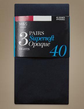 Kadın Lacivert 3'lü 40 Denye Yumuşak Opak Külotlu Çorap