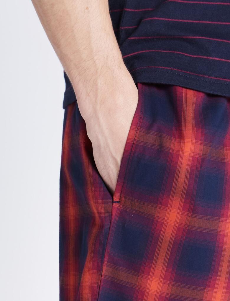 Saf Pamuklu Çizgili ve Kareli Pijama Takımı