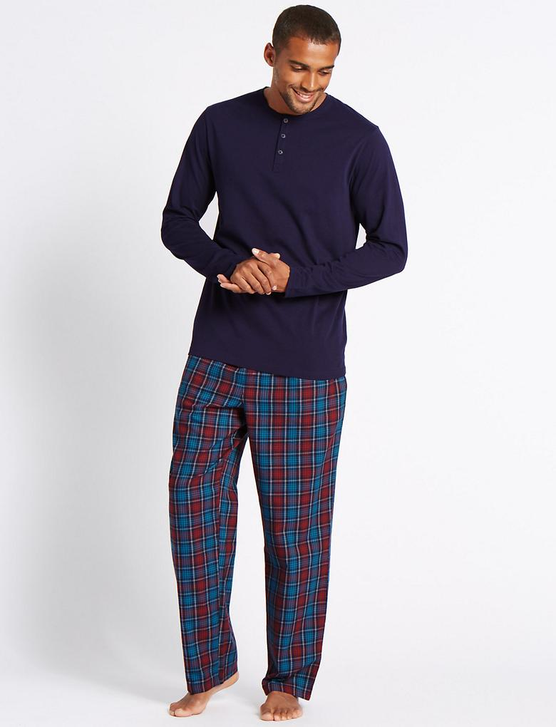 Saf Pamuklu Kareli Pijama Takımı