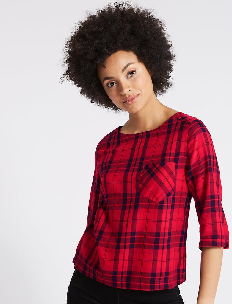 Kırmızı Ekose Modal ¾ Kollu Bluz