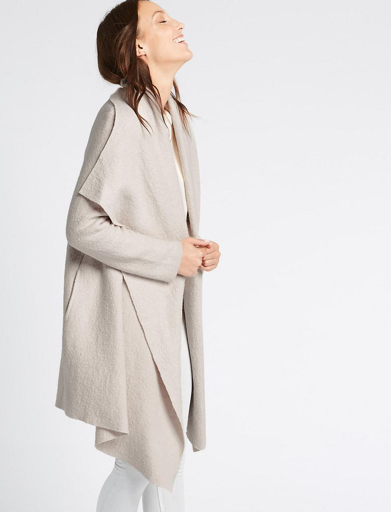 Yün Karışımlı Dökümlü Ceket