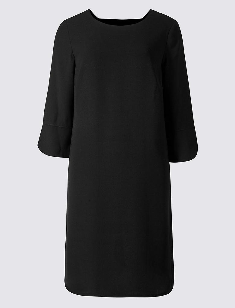 Siyah 3/4 Kollu Tunik Elbise