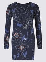 Lacivert Çiçek Desenli Yuvarlak Yaka Uzun Kollu Tunik