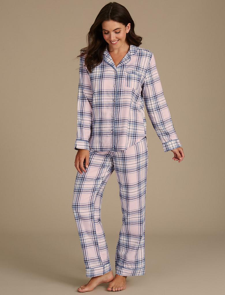 Saf Pamuklu Ekose Pijama