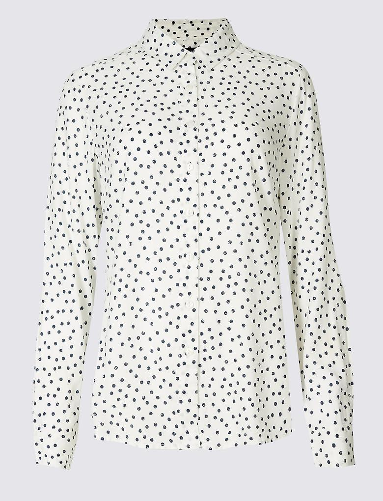 Bej Puantiyeli Uzun Kollu Gömlek
