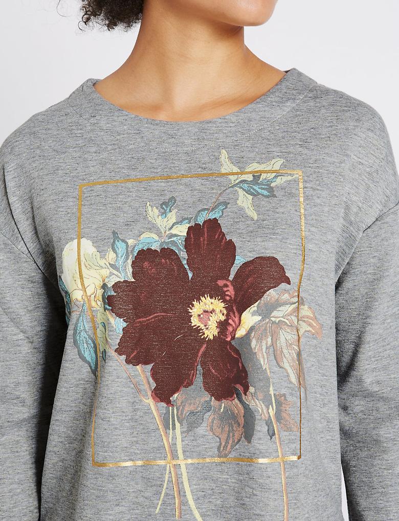 Desenli Yuvarlak Yaka Uzun Kollu Sweatshirt