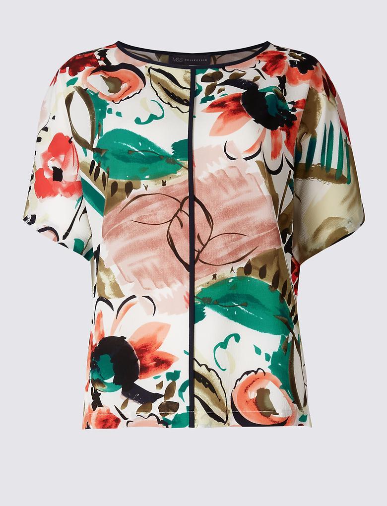 Bej Çiçek Desenli Yarım Kollu Kimono Bluz