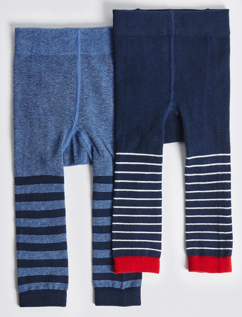 Lacivert 2'li Pamuklu StaySoft™ Külotlu Çorap (0 - 24 Ay)