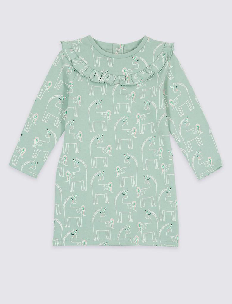 Pamuklu Desenli Elbise (3 Ay - 5 Yaş)