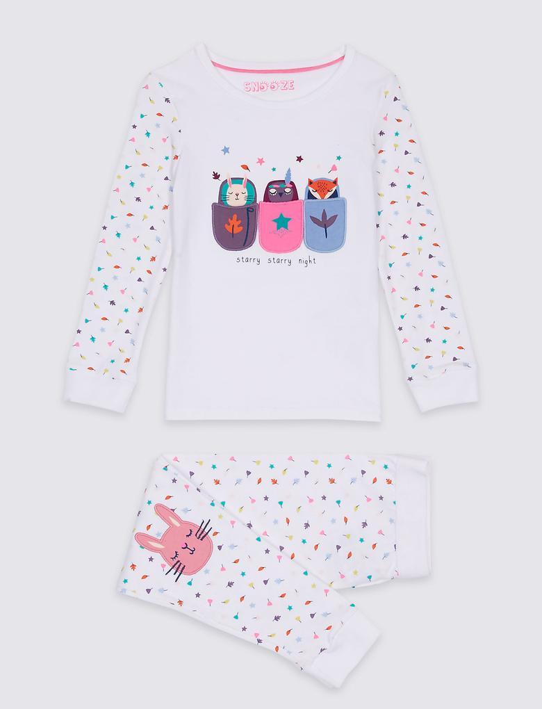 Pamuklu Desenli Streç Pijama Takımı (9 Ay - 8 Yaş)