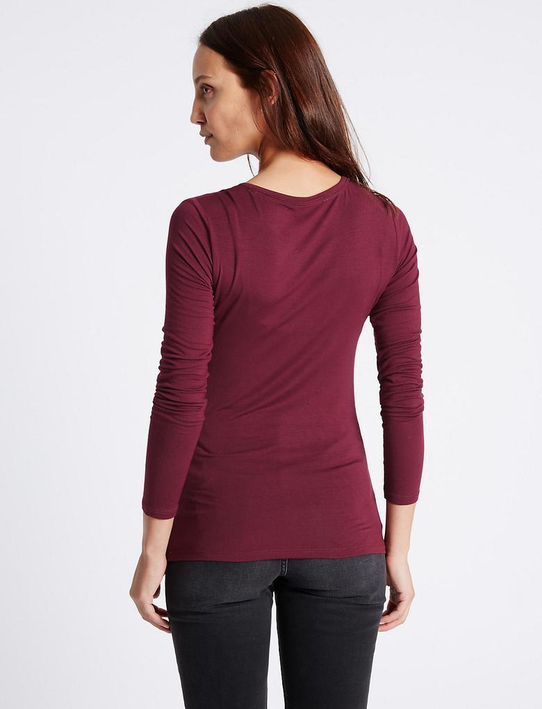 Yuvarlak Yaka Uzun Kollu T-Shirt
