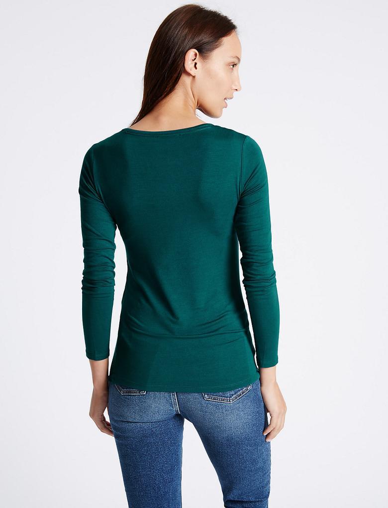 Yeşil Yuvarlak Yaka Uzun Kollu T-Shirt