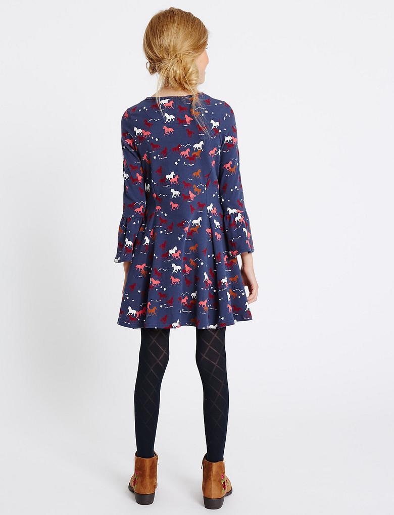 Lacivert Pamuklu Streç Elbise (3 - 14 Yaş)