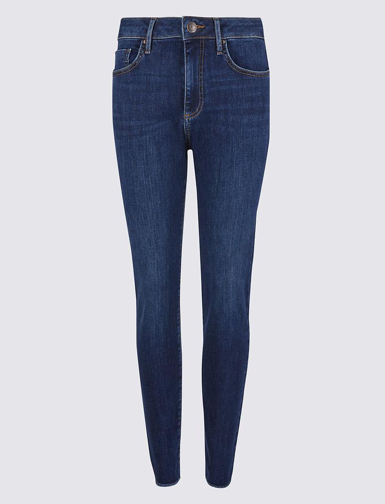 Mor Orta Belli Skinny Jean Pantolon