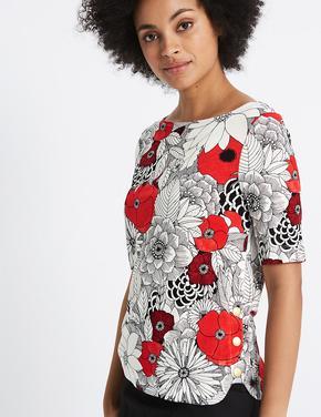 Çiçek Desenli Yarım Kollu T-Shirt
