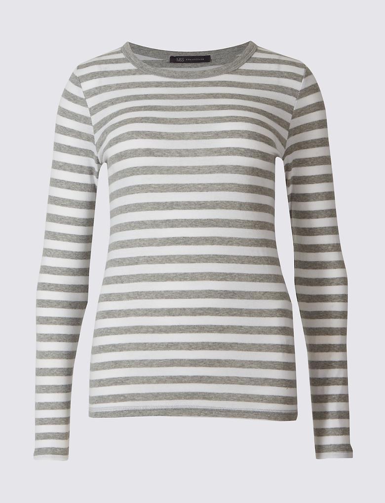 Saf Pamuklu Çizgili Uzun Kollu T-Shirt